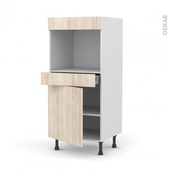 Colonne de cuisine N°56 - Four encastrable niche 45  - IKORO Chêne clair - 1 porte 1 tiroir - L60 x H125 x P58 cm