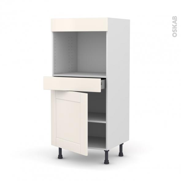 Colonne de cuisine N°56 - Four encastrable niche 45  - FILIPEN Ivoire - 1 porte 1 tiroir - L60 x H125 x P58 cm