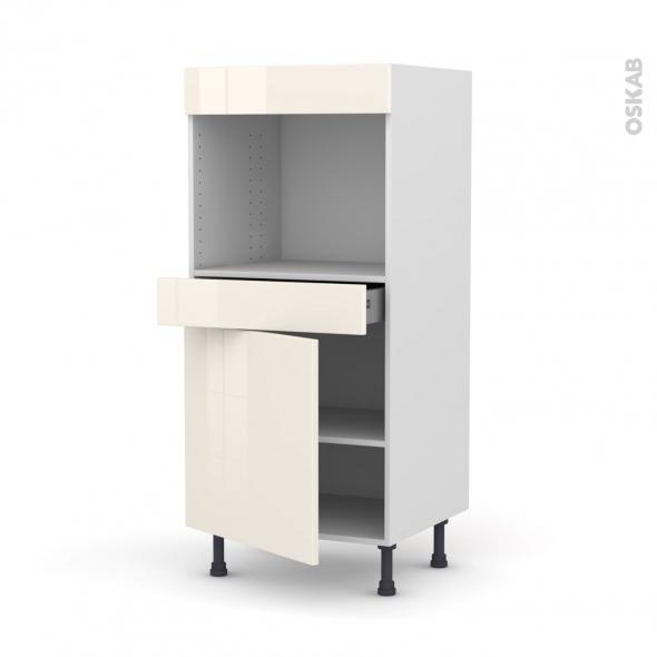 Colonne de cuisine N°56 - Four encastrable niche 45  - KERIA Ivoire - 1 porte 1 tiroir - L60 x H125 x P58 cm