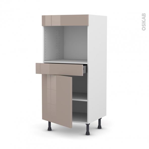 Colonne de cuisine N°56 - Four encastrable niche 45  - KERIA Moka - 1 porte 1 tiroir - L60 x H125 x P58 cm