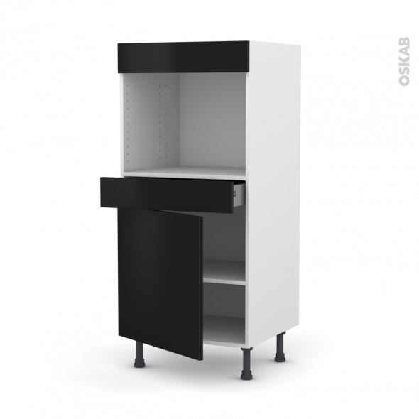 Colonne de cuisine N°56 - Four encastrable niche 45  - GINKO Noir - 1 porte 1 tiroir - L60 x H125 x P58 cm