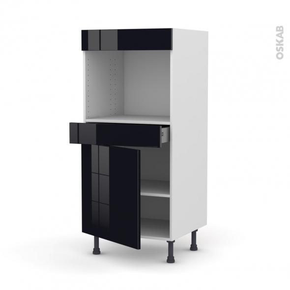 Colonne de cuisine N°56 - Four encastrable niche 45  - KERIA Noir - 1 porte 1 tiroir - L60 x H125 x P58 cm