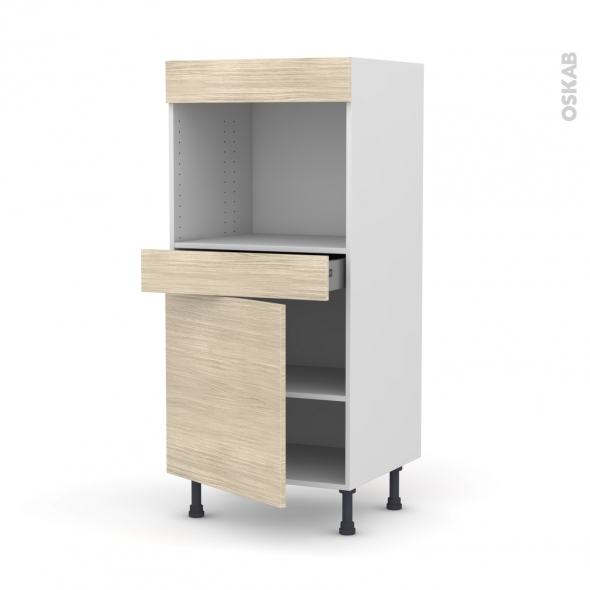 STILO Noyer Blanchi - Colonne Four niche 45 N°56  - 1 porte 1 tiroir - L60xH125xP58