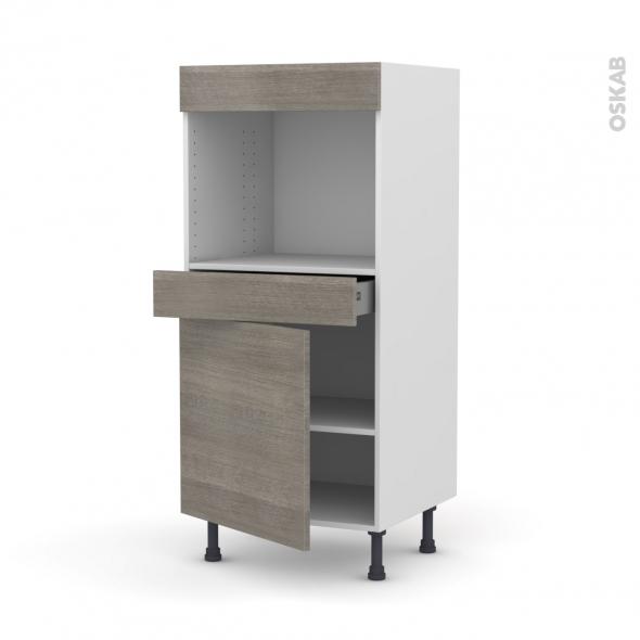 Colonne de cuisine N°56 - Four encastrable niche 45  - STILO Noyer Naturel - 1 porte 1 tiroir - L60 x H125 x P58 cm