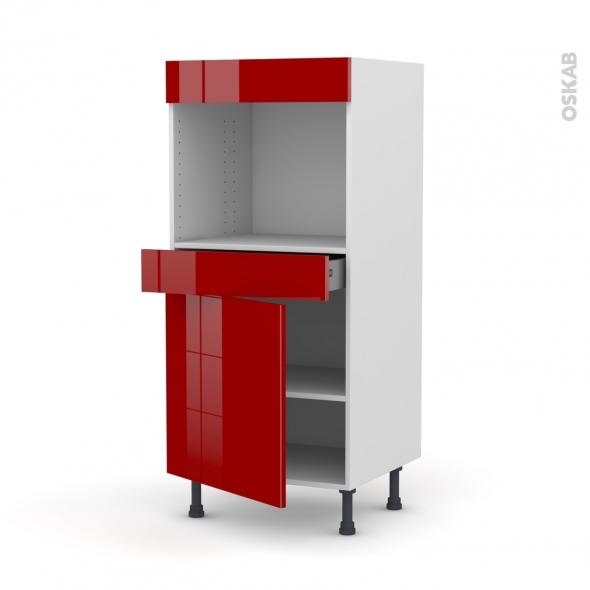 STECIA Rouge - Colonne Four niche 45 N°56  - 1 porte 1 tiroir - L60xH125xP58