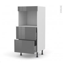 Colonne de cuisine N°57 - Four encastrable niche 45  - STECIA Gris - 2 casseroliers - L60 x H125 x P58 cm