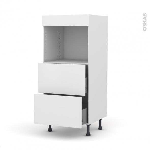 Colonne de cuisine N°57 - Four encastrable niche 45  - GINKO Blanc - 2 casseroliers - L60 x H125 x P58 cm
