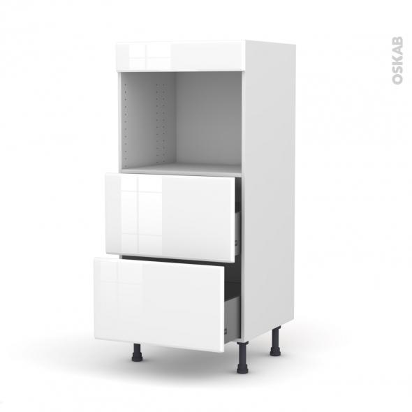 Colonne de cuisine N°57 - Four encastrable niche 45  - IRIS Blanc - 2 casseroliers - L60 x H125 x P58 cm