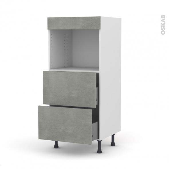 Colonne de cuisine N°57 - Four encastrable niche 45  - FAKTO Béton - 2 casseroliers - L60 x H125 x P58 cm