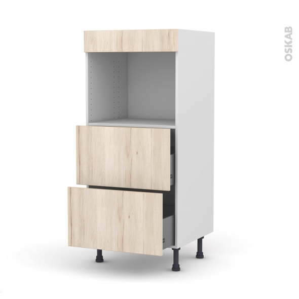 Colonne de cuisine N°57 - Four encastrable niche 45  - IKORO Chêne clair - 2 casseroliers - L60 x H125 x P58 cm