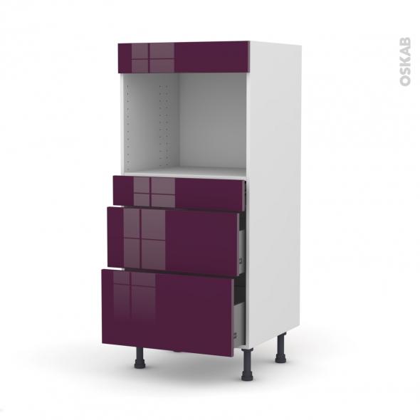 Colonne de cuisine N°58 - Four encastrable niche 45 - KERIA Aubergine - 3 tiroirs - L60 x H125 x P58 cm