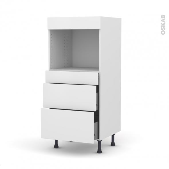 Colonne de cuisine N°58 - Four encastrable niche 45  - GINKO Blanc - 3 tiroirs - L60 x H125 x P58 cm
