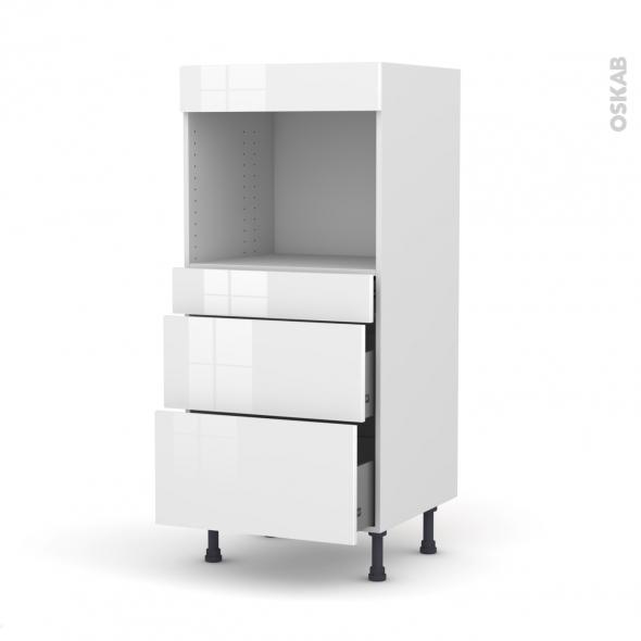 Colonne de cuisine N°58 - Four encastrable niche 45  - STECIA Blanc - 3 tiroirs - L60 x H125 x P58 cm