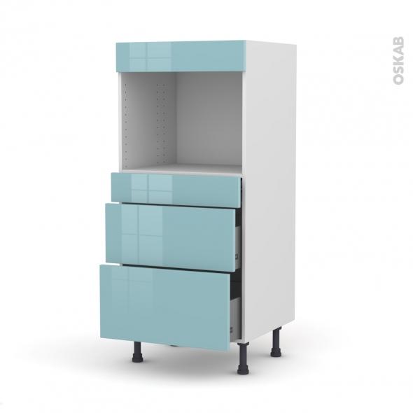 Colonne de cuisine N°58 - Four encastrable niche 45  - KERIA Bleu - 3 tiroirs - L60 x H125 x P58 cm