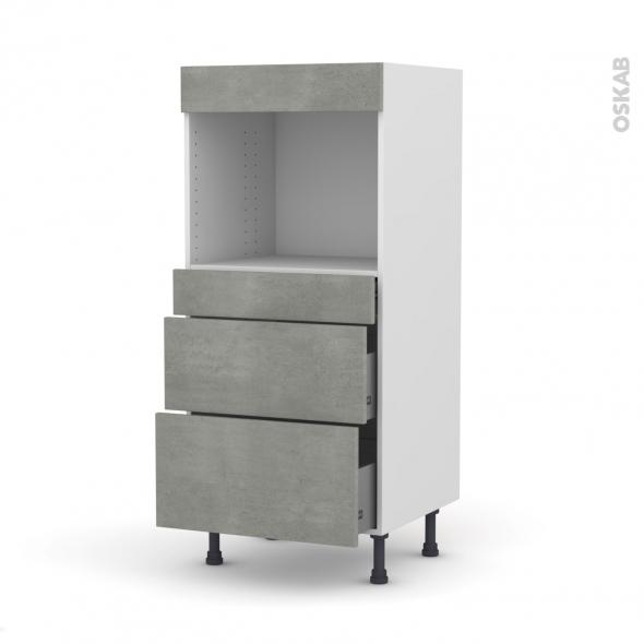Colonne de cuisine N°58 - Four encastrable niche 45  - FAKTO Béton - 3 tiroirs - L60 x H125 x P58 cm