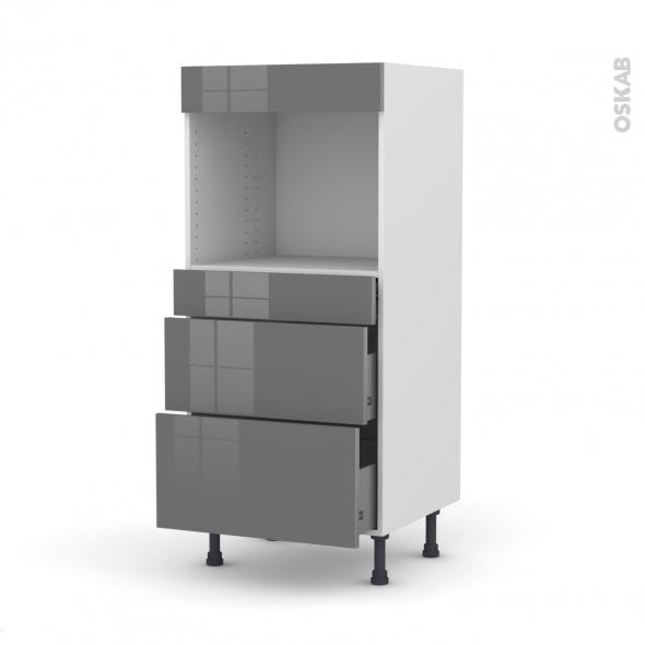 Colonne de cuisine N°58 - Four encastrable niche 45  - STECIA Gris - 3 tiroirs - L60 x H125 x P58 cm