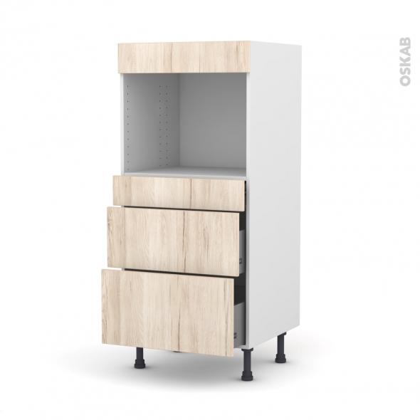 Colonne de cuisine N°58 - Four encastrable niche 45  - IKORO Chêne clair - 3 tiroirs - L60 x H125 x P58 cm