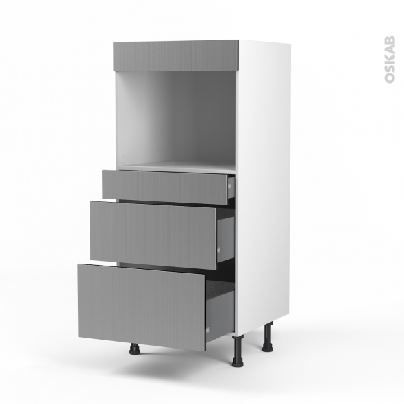 STILO Inox - Colonne Four niche 45 N°58  - 3 tiroirs - L60xH125xP58
