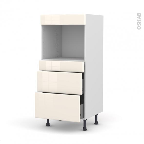 IRIS Ivoire - Colonne Four niche 45 N°58  - 3 tiroirs - L60xH125xP58
