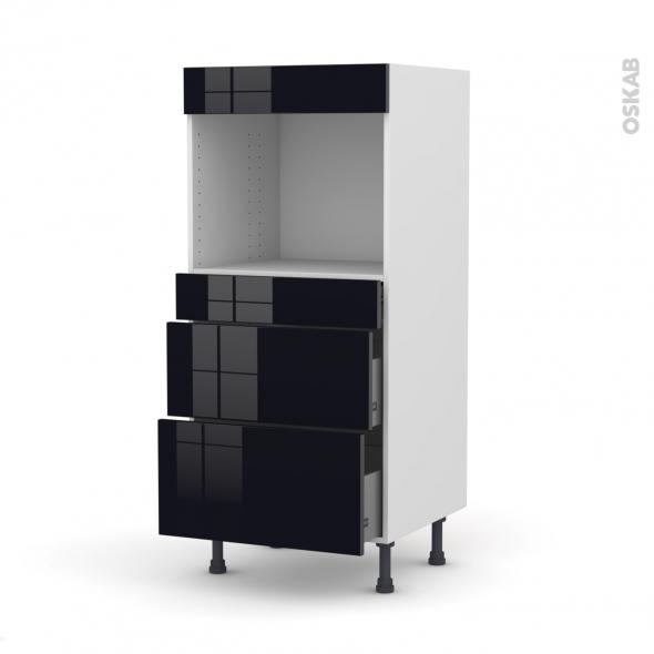 Colonne de cuisine N°58 - Four encastrable niche 45  - KERIA Noir - 3 tiroirs - L60 x H125 x P58 cm
