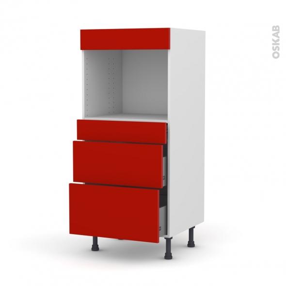GINKO Rouge - Colonne Four niche 45 N°58  - 3 tiroirs - L60xH125xP58
