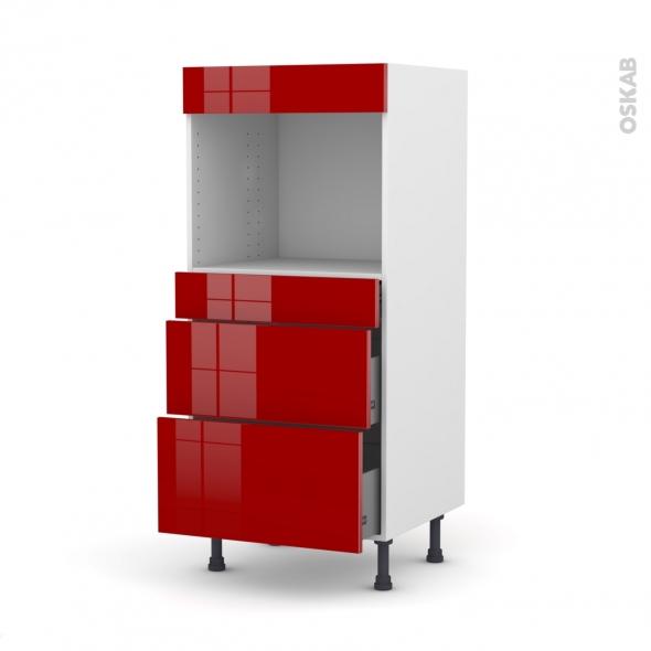 Colonne de cuisine N°58 - Four encastrable niche 45 - STECIA Rouge - 3 tiroirs - L60 x H125 x P58 cm