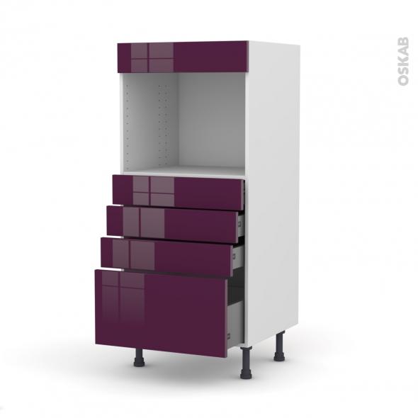 Colonne de cuisine N°59 - Four encastrable niche 45 - KERIA Aubergine - 4 tiroirs - L60 x H125 x P58 cm