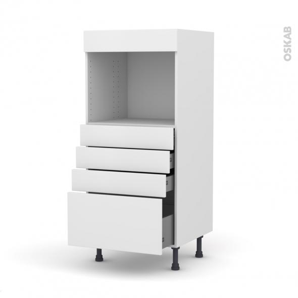 Colonne de cuisine N°59 - Four encastrable niche 45  - GINKO Blanc - 4 tiroirs - L60 x H125 x P58 cm