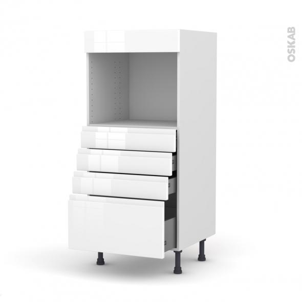 IPOMA Blanc - Colonne Four niche 45 N°59  - 4 tiroirs - L60xH125xP58