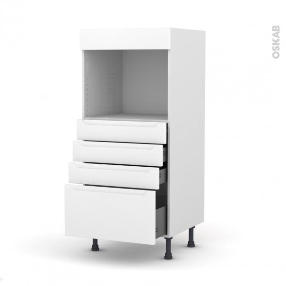Colonne de cuisine N°59 - Four encastrable niche 45  - PIMA Blanc - 4 tiroirs - L60 x H125 x P58 cm
