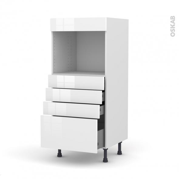 Colonne de cuisine N°59 - Four encastrable niche 45  - STECIA Blanc - 4 tiroirs - L60 x H125 x P58 cm