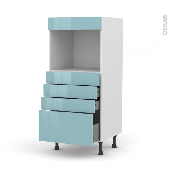 KERIA Bleu - Colonne Four niche 45 N°59  - 4 tiroirs - L60xH125xP58