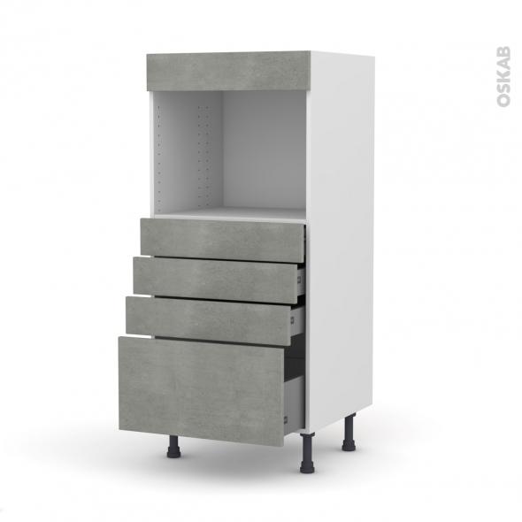 Colonne de cuisine N°59 - Four encastrable niche 45  - FAKTO Béton - 4 tiroirs - L60 x H125 x P58 cm