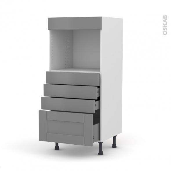Colonne de cuisine N°59 - Four encastrable niche 45  - FILIPEN Gris - 4 tiroirs - L60 x H125 x P58 cm