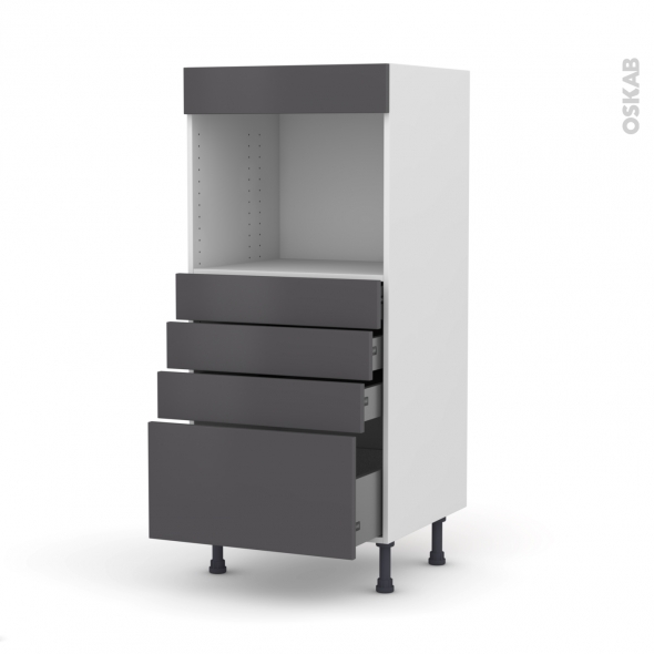 Colonne de cuisine N°59 - Four encastrable niche 45  - GINKO Gris - 4 tiroirs - L60 x H125 x P58 cm