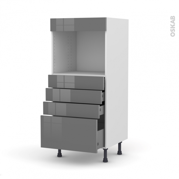 Colonne de cuisine N°59 - Four encastrable niche 45  - STECIA Gris - 4 tiroirs - L60 x H125 x P58 cm