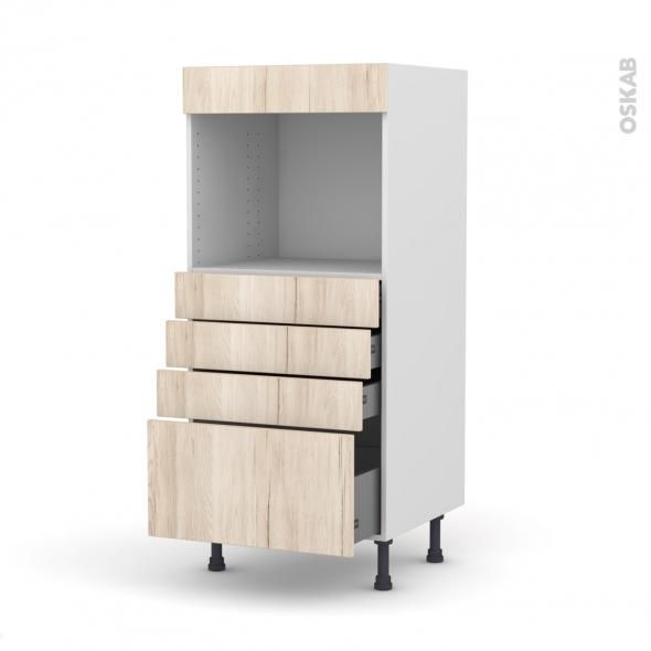 Colonne de cuisine N°59 - Four encastrable niche 45  - IKORO Chêne clair - 4 tiroirs - L60 x H125 x P58 cm