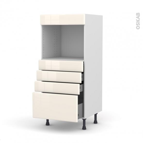 IRIS Ivoire - Colonne Four niche 45 N°59  - 4 tiroirs - L60xH125xP58