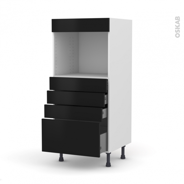Colonne de cuisine N°59 - Four encastrable niche 45  - GINKO Noir - 4 tiroirs - L60 x H125 x P58 cm