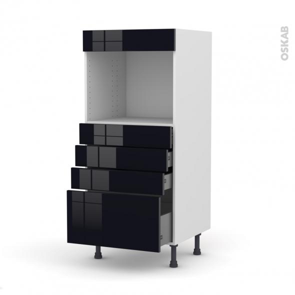 Colonne de cuisine N°59 - Four encastrable niche 45  - KERIA Noir - 4 tiroirs - L60 x H125 x P58 cm