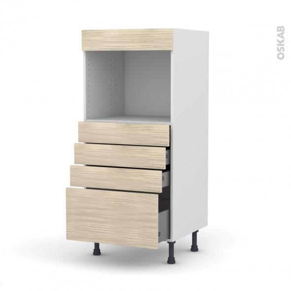 Colonne de cuisine N°59 - Four encastrable niche 45  - STILO Noyer Blanchi - 4 tiroirs - L60 x H125 x P58 cm