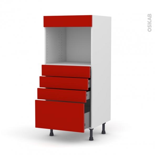 GINKO Rouge - Colonne Four niche 45 N°59  - 4 tiroirs - L60xH125xP58