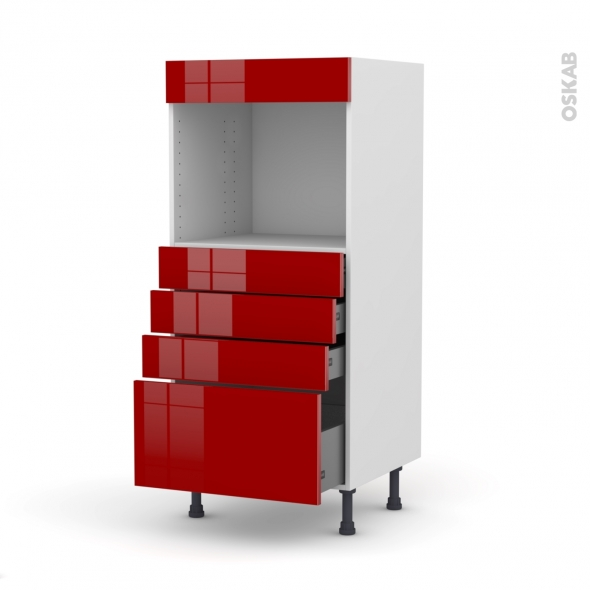 Colonne de cuisine N°59 - Four encastrable niche 45 - STECIA Rouge - 4 tiroirs - L60 x H125 x P58 cm