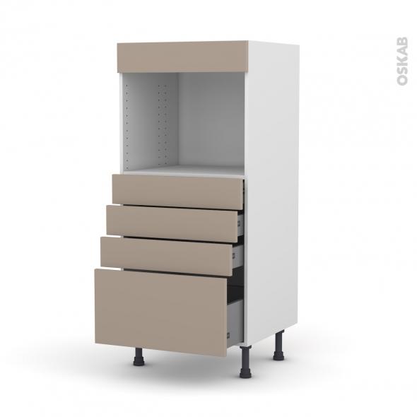 Colonne de cuisine N°59 - Four encastrable niche 45 - GINKO Taupe - 4 tiroirs - L60 x H125 x P58 cm