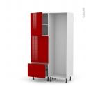 STECIA Rouge - Colonne Lave vaisselle - Full Intégrable - L60xH195xP58