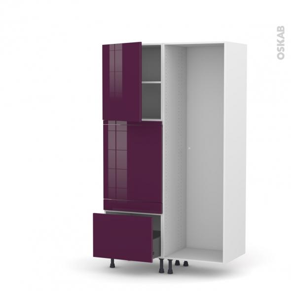 Colonne de cuisine - Lave vaisselle full intégrable - KERIA Aubergine - L60 x H195 x P58 cm