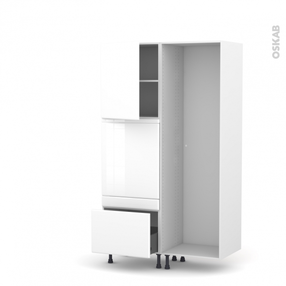Colonne de cuisine - Lave vaisselle full intégrable - IRIS Blanc - L60 x H195 x P58 cm