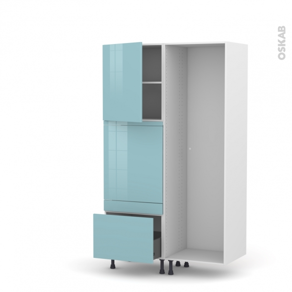 Colonne de cuisine - Lave vaisselle full intégrable - KERIA Bleu - L60 x H195 x P58 cm