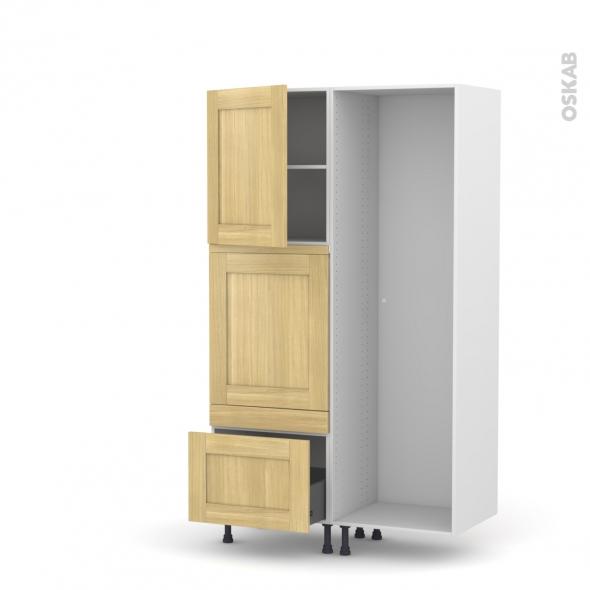 BASILIT Bois Brut - Colonne Lave vaisselle - Full Intégrable - L60xH195xP58
