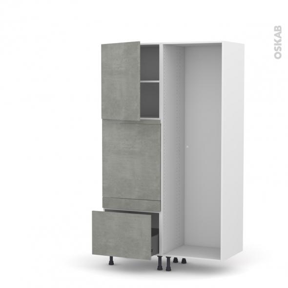 Colonne de cuisine - Lave vaisselle full intégrable - FAKTO Béton - L60 x H195 x P58 cm
